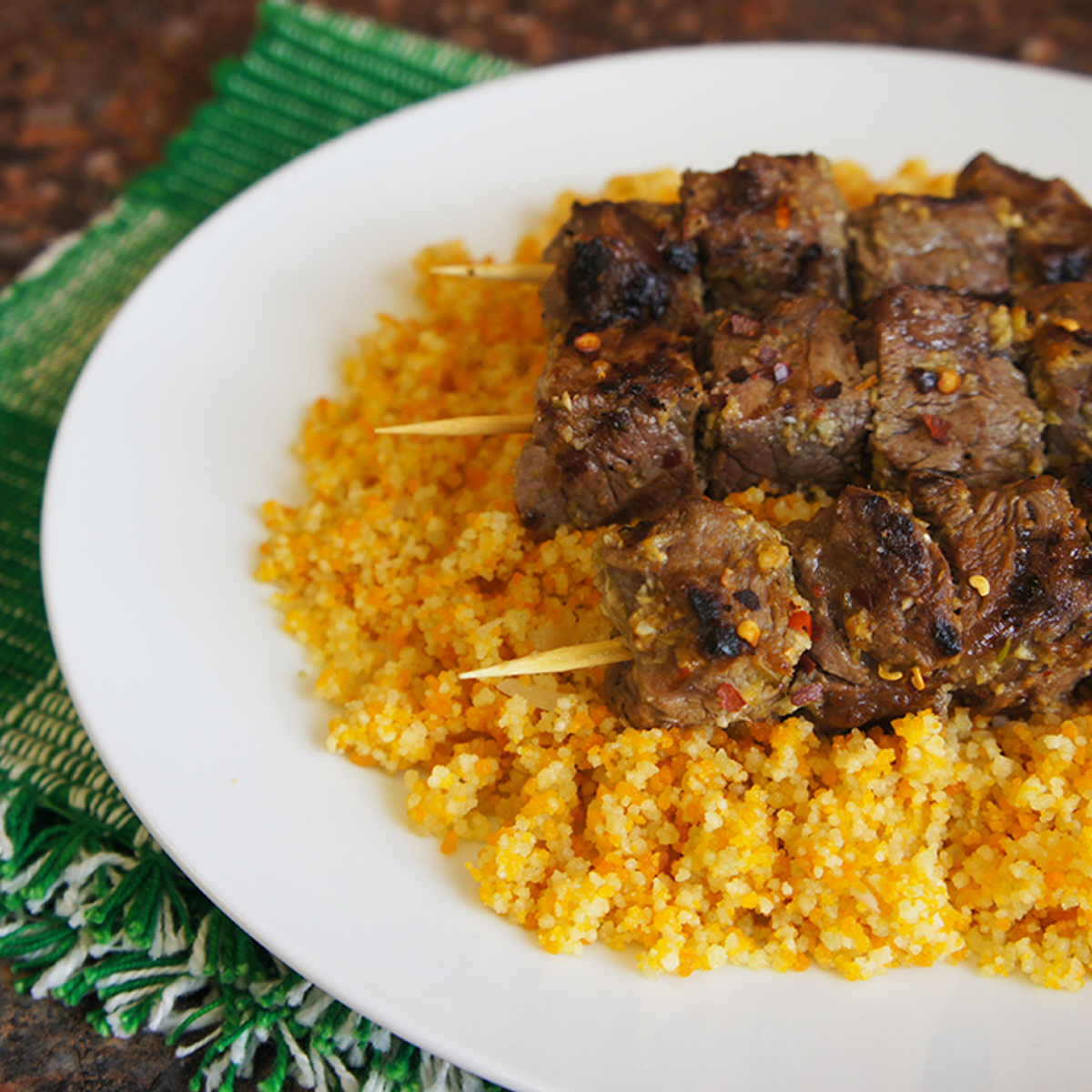 Tri-Color Couscous with Grilled Beef Skewers Recipe
