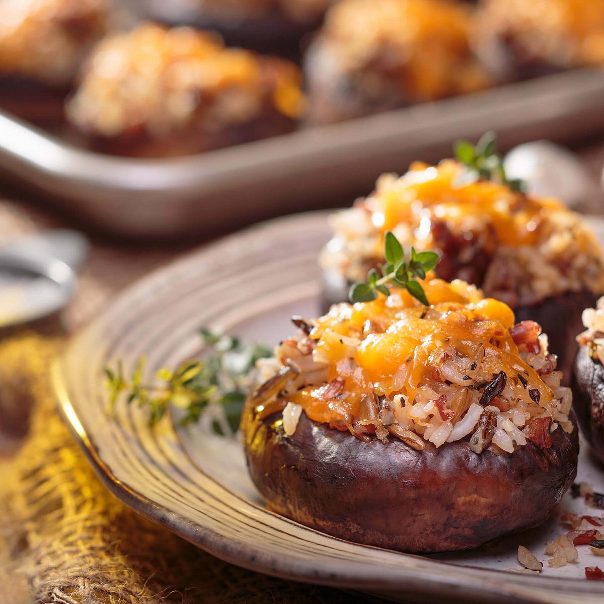 Wild Rice & Sausage Stuffed Mushrooms Recipe