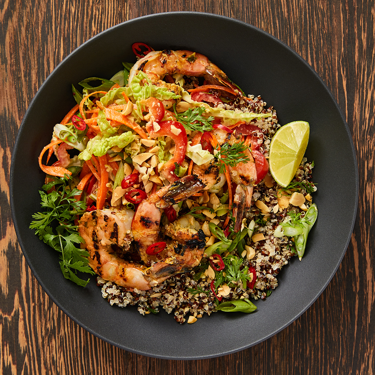 Jerk Shrimp and Quinoa Bowl with Thai Slaw