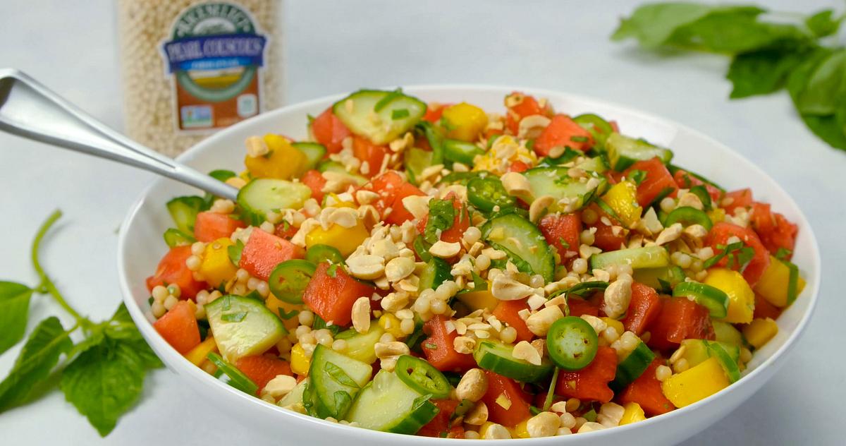 Cucumber, Pearl Couscous, Basil & Watermelon Salad Recipe