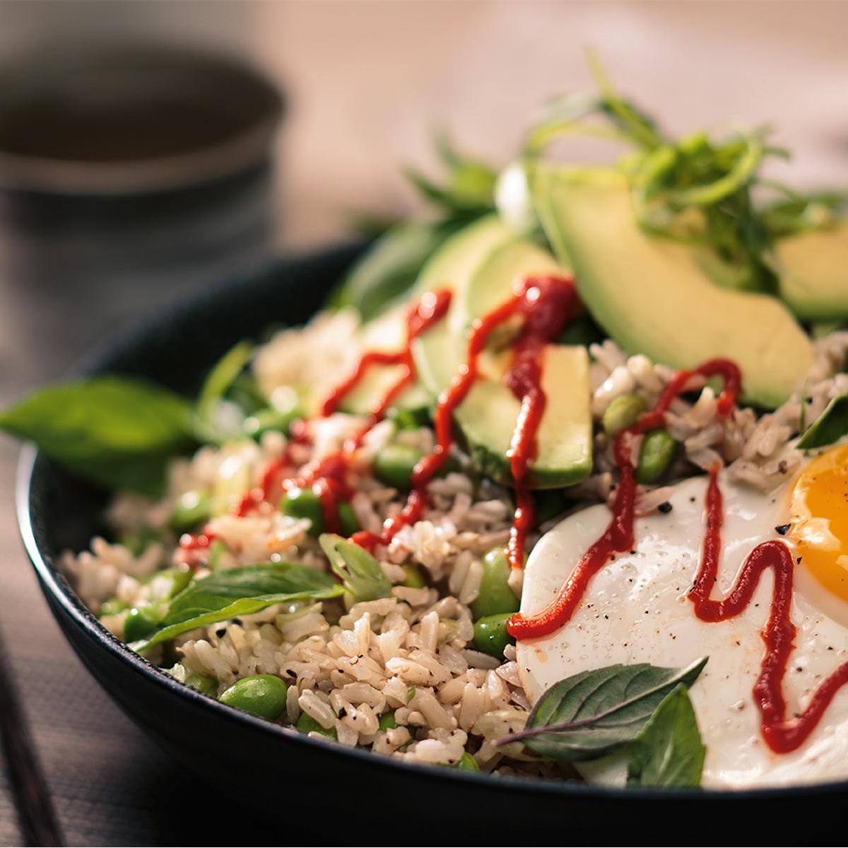 Egg and Edamame Brown Rice Bowl Recipe