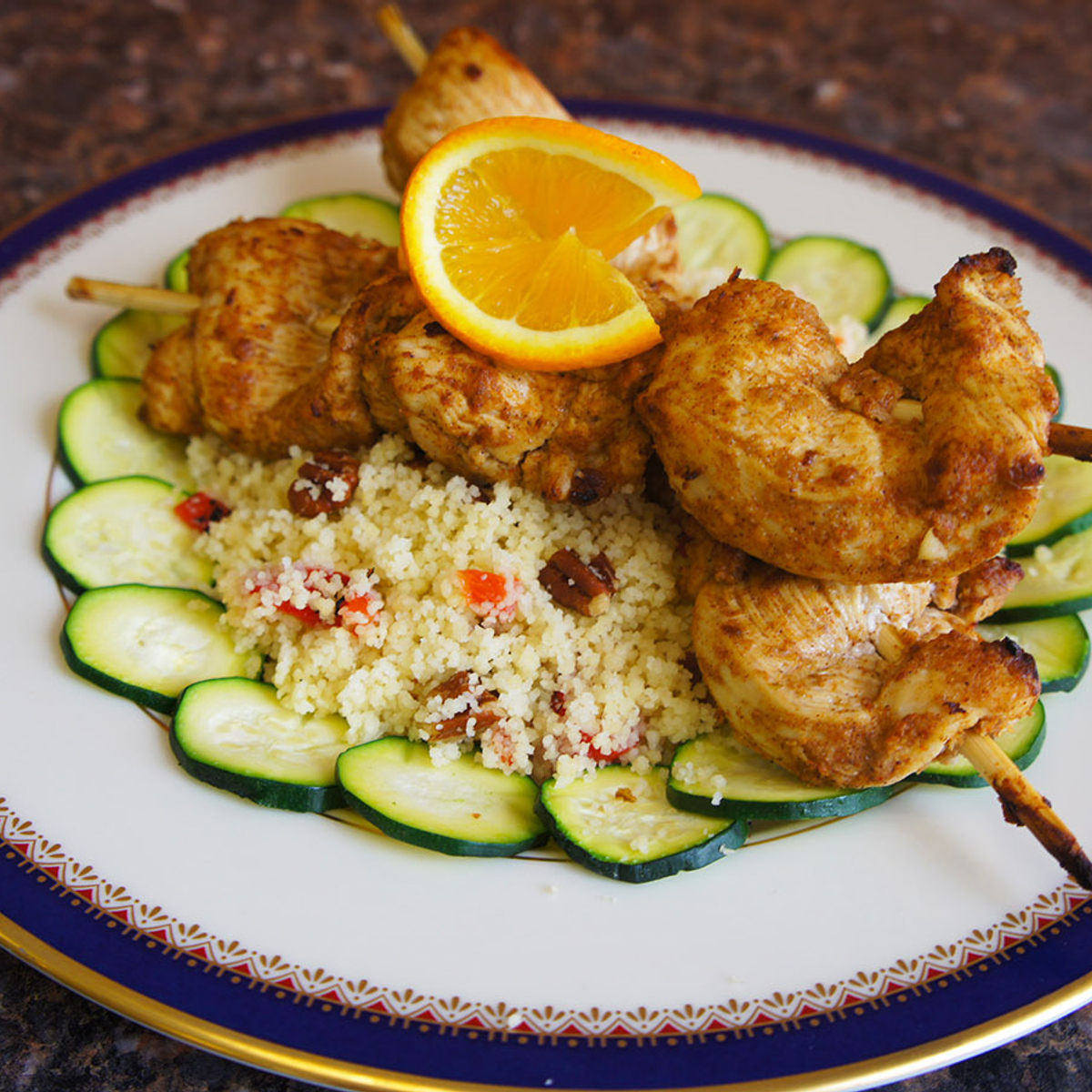 Moroccan Chicken Kabobs with Couscous Recipe