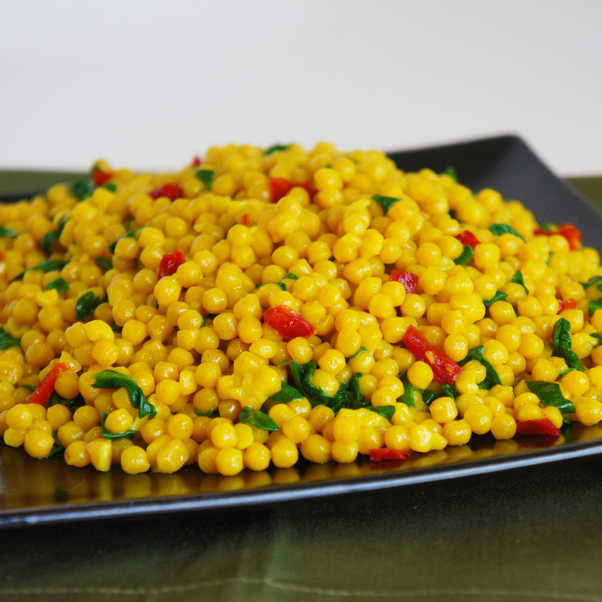 Pearl Couscous Florentine with Sun Dried Tomatoes Recipe