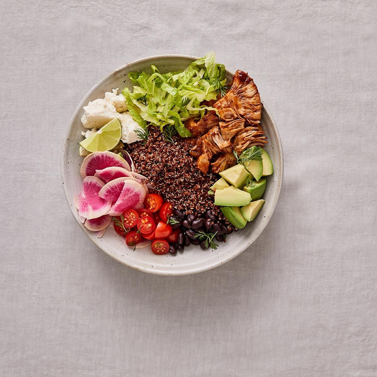 Quinoa & Pulled Jackfruit Burrito Bowl Recipe