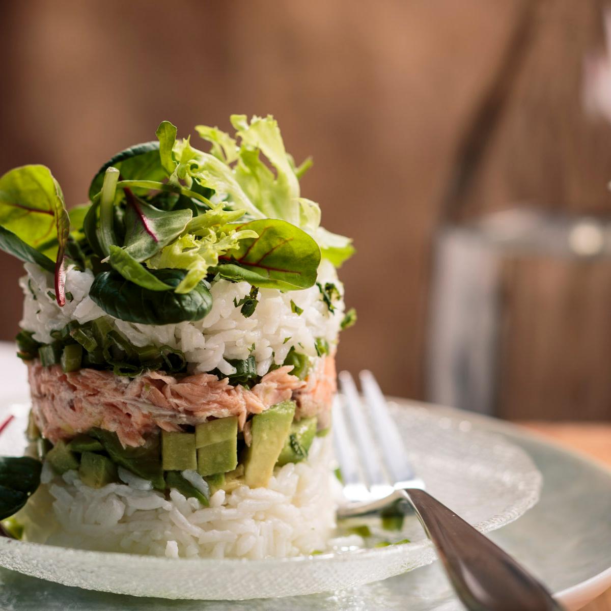 Spicy Salmon & Avocado Tower Recipe
